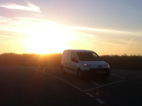 mobile servicing workshop at dawn